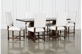 Toscana Cognac 84 Inch 7 Piece Rectangle Dining With Pacifica White Chairs