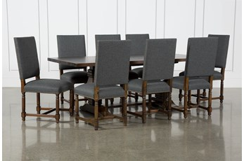 Toscana Cognac 84 Inch 9 Piece Rectangle Dining With Pacifica Charcoal Chairs