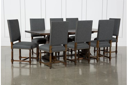 Toscana Cognac 84 Inch 9 Piece Rectangle Dining With Pacifica Charcoal Chairs - Main
