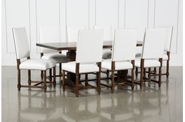 Toscana Cognac 84 Inch 9 Piece Rectangle Dining With Pacifica White Chairs