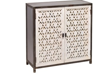 Black + White 2 Door Perforated Cabinet