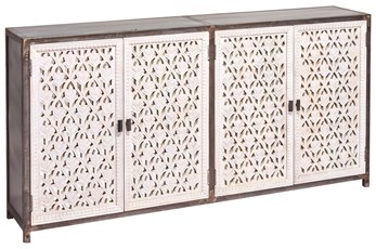 "Black + White 4 Door Perforated 80"" Sideboard"