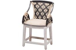 Hand Woven Blue + White Rope Chair