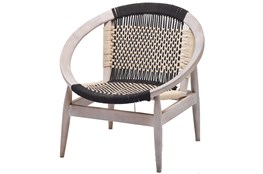 Round Hand Woven Blue + White Rope Chair