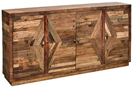 "4 Door Pieced Wood Diamond 40"" Sideboard"
