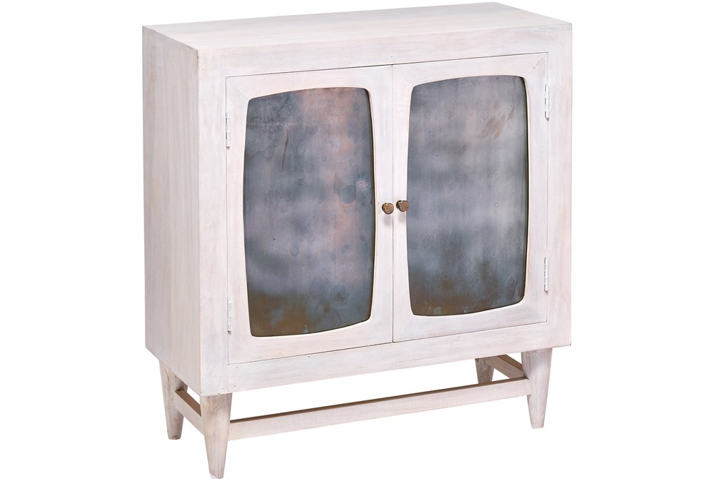 White Wash Antique Glass 2 Door Cabinet