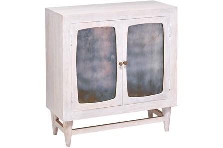 White Wash Antique Glass 2 Door Cabinet