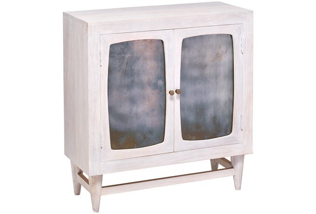 White Wash Antique Glass 2 Door Cabinet - 360