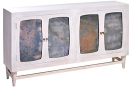 White Wash Antique Glass 4 Door Sideboard