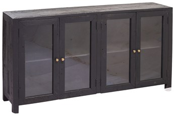 "Black 4 Door Glass 70"" Sideboard"