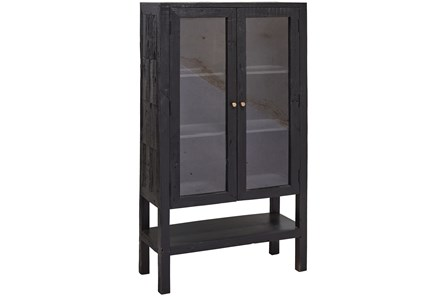 Black 2 Door Tall Glass Cabinet