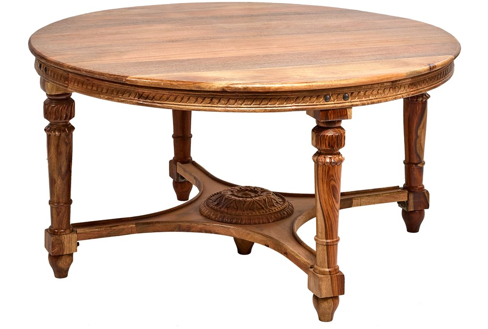 Round Carved Edge Dining Table