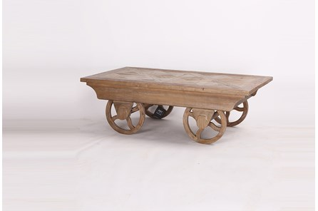 Weathered Elm Coffee Table On Wheels
