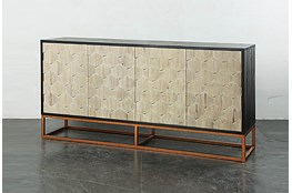 Weathered Antique Sideboard On Copper Stand