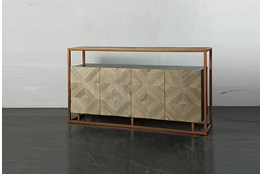 Weathered Antique Wood Sideboard On Copper Stand