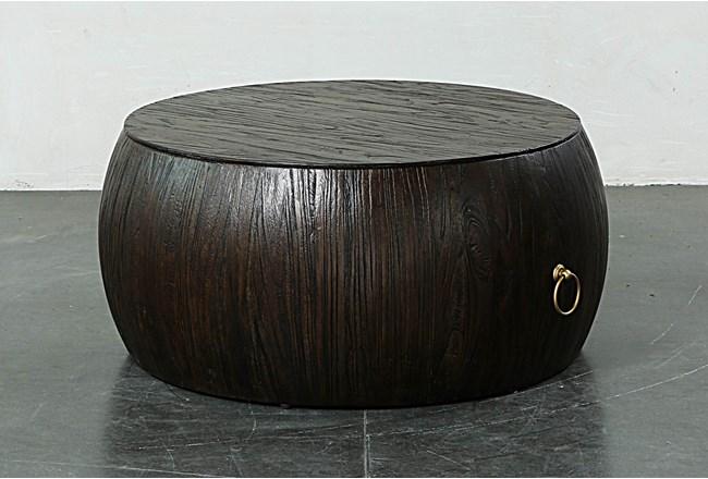 Dark Brown Round Drum Coffee Table - 360