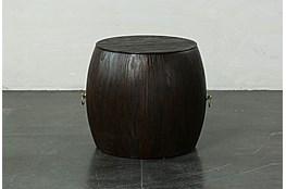 Dark Brown Round Drum End Table