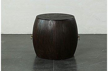 Dark Brown Round Drum End Table
