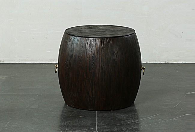 Dark Brown Round Drum End Table  - 360