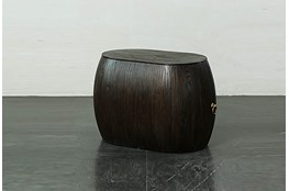Dark Brown Oval Shape End Table