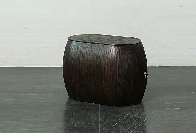 Dark Brown Oval Shape End Table - 360