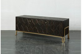 Dark Brown Media Console On Metal Stand