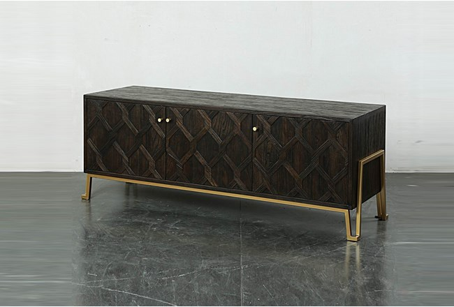 Dark Brown Media Console On Metal Stand  - 360