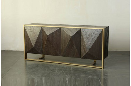 Dark Brown 3 Dimensional Sideboard On Metal Stand