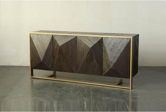 Dark Brown 3 Dimensional Sideboard On Metal Stand  - 360