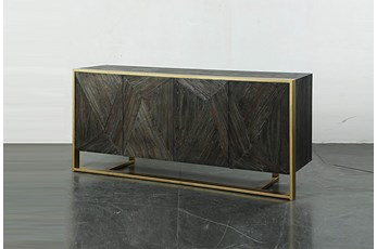 "Dark Elm 4 Door 74"" Sideboard On Metal Stand"