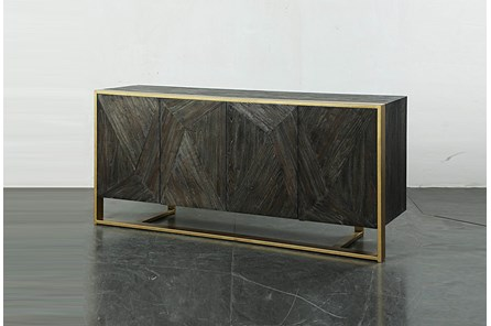 Dark Elm 4 Door Sideboard On Metal Stand