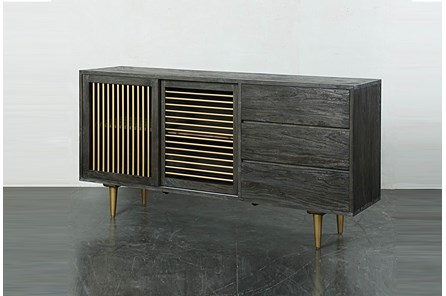 Dark Brown Iron + Wood Sideboard
