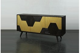 "Dark Brown With Gold Hex Inlay 73"" Sideboard"