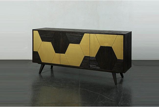 Dark Brown With Gold Hex Inlay Sideboard - 360