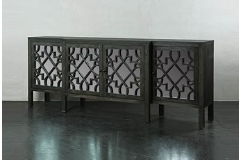 "Dark Brown Jumbo Mirrored Front 103"" Sideboard"