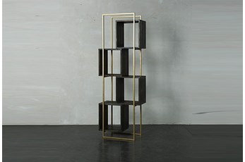 "Dark Brown + Gold 77"" Bookcase"