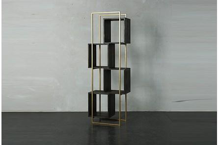 Dark Brown + Gold Bookcase