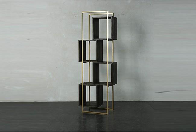 Dark Brown + Gold Bookcase  - 360