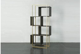 Dark Brown + Gold Geo Cube Bookcase