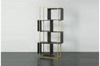 "Dark Brown + Gold Geo Cube 77"" Bookcase"