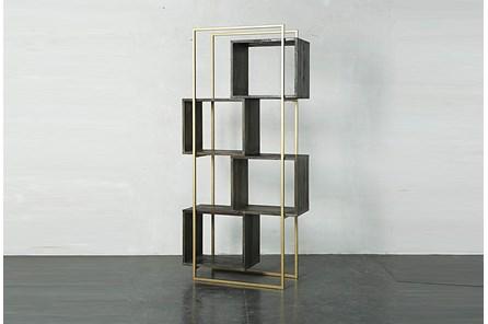 Dark Brown + Gold Geo Cube Bookcase