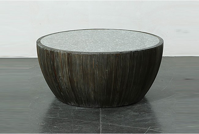 Dark Natural Drum Cocktail Table With Antique Mirror - 360