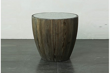 Dark Natural Drum End Table With Antique Mirror