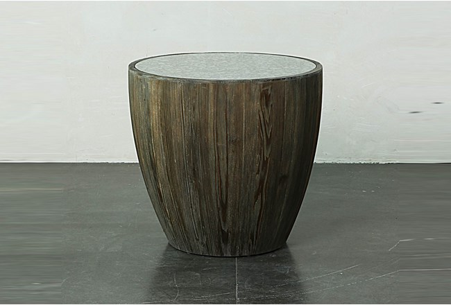 Dark Natural Drum End Table With Antique Mirror - 360