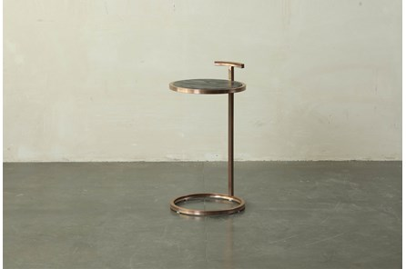 Dark Brown + Brass Accent Table