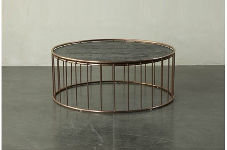 Dark Brown Coffee Table With Metal Details