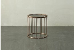 Dark Brown End Table With Metal Details