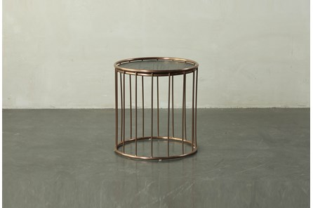 Dark Brown End Table With Metal Details