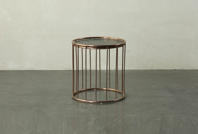Dark Brown End Table With Metal Details - 360