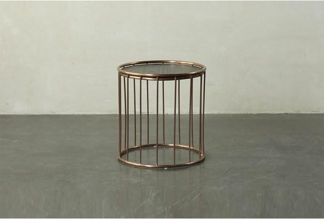 Dark Brown End Table With Metal Details - 360